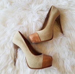 Steve Madden tan somone pump heels